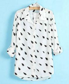 Penguin Print Shirt with High Low Hem $35.40