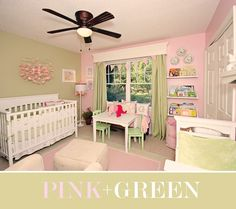 Curtains And Furniture Placement Pink And Green Nursery