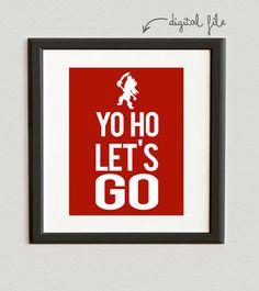 DIGITAL FILE // Yo Ho, Let's Go- Jake- Jake and the Neverland Pirates- Cardinal color on Etsy, $6.00