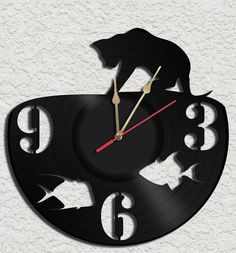 Fishing Cat Vinyl Record Clock Upcycled vinyl records Great Gift