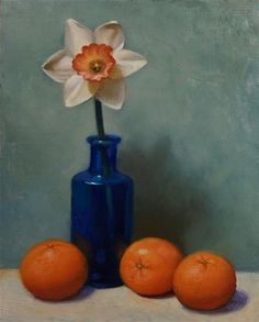 "Daily Paintworks - ""Daffodil and Clementines"" - Original Fine Art for Sale - © Debra Becks Cooper"