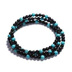Náramek - Wrap Náramek Micro Tyrkys A Achát Beaded Necklace, Beaded Bracelets, Jewelry, Fashion, Beaded Collar, Moda, Jewlery, Pearl Necklace, Jewerly