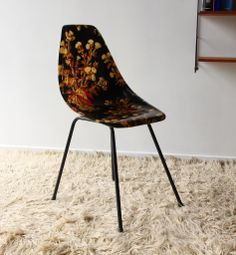 Anonymous; Printed Fiberglass and Enameled Metal Chair, 1950s.