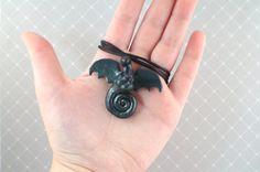Beautiful Slate Green Dragon Necklace - Polymer Clay, Wyvern, Flying