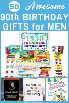 50 Brilliant Birthday Gifts for 90 Year Old Man Who Has EVERYTHING! Looking for a fabulous birthday gift for 90 year old man? Delight him with a gift he'll love! Shop brilliant gift id. 90th Birthday Decorations, 90th Birthday Invitations, 90th Birthday Parties, Funny Birthday Gifts, Birthday Gift For Him, Birthday Fun, Birthday Ideas, Birthday Crafts, Gifts For Old Men