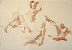 The limbs of each figure is achieved with a quick stroke in this watercolor sketch by Wendy Artin.