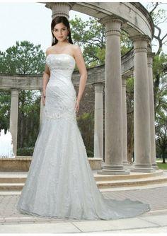 Lace Strapless Softly Curved Neckline Beaded Empire Waistline Mermaid Draped Skirt with Chapel Train 2012 Wedding Dress - bridaldressin.com