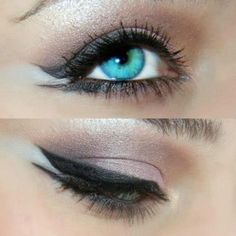 Sparkly creamy brown eye shadow and winged eyeliner