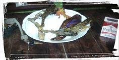 menu sarapan mlm .. ikan lundu bakar n goreng dg terong sambal acan ..
