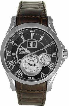 8377feed37b Seiko Premier Perpetual Calendar Black Dial Brown Leather Strap Men s Watch  SNP025