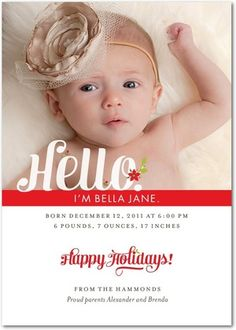 "Birth Announcement-- I love the ones that say, ""hi, my name is..."""