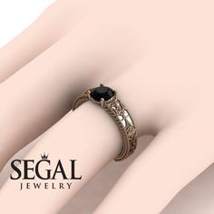 Black Diamond Engagement Ring by Segal Jewelry Unique Solitaire Engagement Ring, Cheap Engagement Rings, Beautiful Engagement Rings, Vintage Engagement Rings, Gold Diamond Wedding Band, Diamond Rings, Gold Wedding, Wedding Ring, Black Rings