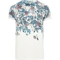 White floral skull faded print t-shirt £18.00