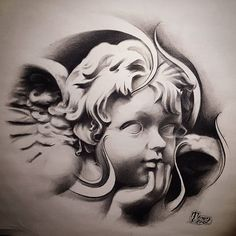 """""""Cherub Angel"""" Another dope shot of last nights sketj for future prints i did. Can't wait to start some more for the new year! Thanks for looking! Done by: Tonez @streetcitytattoos ????????????"""
