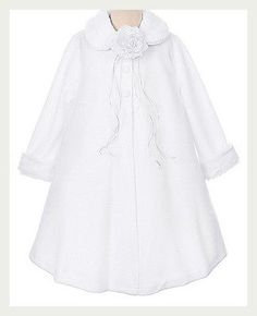 Fleece-Cape-Style-Coat-Flower-Girls-Fashion-Fall-Winter-Fur-Trim-Elegant-Corsage
