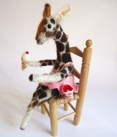 Original Needle Felted  Bathing  Beauty Giraffe  Handmade By Miss Bumbles via etsy
