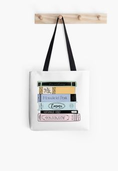 Jane Austen Book Stack - Colour Tote Bag If you love fantasy & dragons as much as we do, check our our canvas wraps, photo prints & tees - click that link! Jane Austen Books, Jane Eyre, Tv Entertainment Centers, Fantasy Quotes, Stack Of Books, Book Lovers Gifts, Printed Tote Bags, Pride And Prejudice, Skin Case