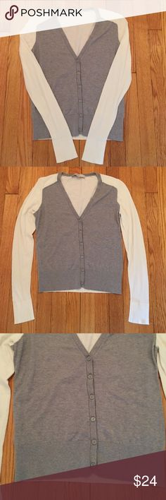 Loft two tone cardigan Only worn once. Loft two-tone cardigan. Gray and cream. V-neck and button down. Very finely ribbed along the bottom of sweater and at the cuffs of the sleeves. Incredibly soft LOFT Sweaters