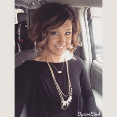 Short bob with balayage by Jennifer Brimm at Studio 6 in Edwardsville, IL Engraved bar and Zuni Necklace from Stella & Dot (www.stelladot.com/jessahelm)