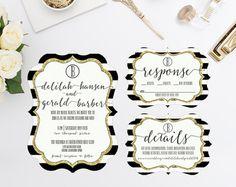 Black and White Stripes Wedding Invitation RSVP Details Card Gold Glitter - DIE CUT - Digital or Prints - Bridal Shower Rehearsal Dinner