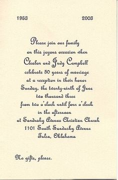 27 best anniversary invitations images on pinterest anniversary anniversary invitations 50th invitation sent for the anniversary celebration at sandusky ave stopboris Image collections