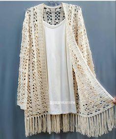 "La imagen puede contener: texto que dice "" Cardigan Au Crochet, Crochet Coat, Crochet Jacket, Crochet Cardigan, Crochet Clothes, Crochet Geek, Pull Crochet, Boho Fashion Summer, Boho Kimono"
