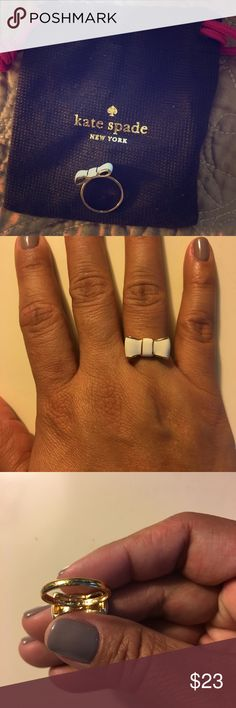 Kate Spade Vow Ring White enamel now outlined in gold. Make his a great addition to your jewelry box and fingers! It's super cute!! Like new!! Size 7 kate spade Jewelry Rings