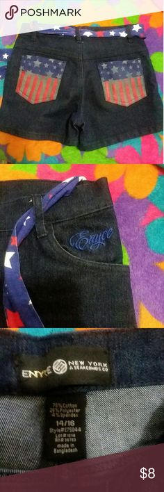 Enyce shorts size 14/16 run small Blue Jean Enyce shorts with red white and blue on the pockets plus belt. This has a cute top that goes with it ill bmpnpost as soon as i find it Enyce Bottoms Shorts