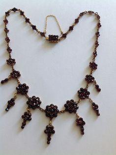 Beautiful Victorian Bohemian Rose Cut Garnet Set Pendant Drop Necklace