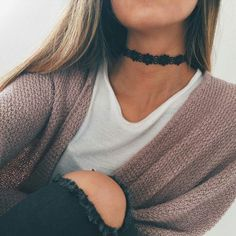 Black Lace Choker Necklace at MyBodiArt.com - Casual Cute Simple Comfy Outfits for Teens for School for Winter for Fall