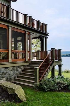 Lake House - Traditional - Porch - New York - Crisp Architects Bungalows, Deck Design, House Design, Steps Design, Plan Chalet, Architecture Résidentielle, Traditional Porch, Traditional Design, Haus Am See