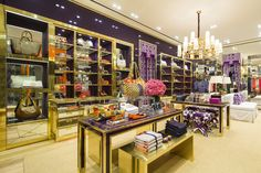 Love the interior of this Tory Burch store in Brazil. Purple + Gold= gaudy goodness! And those Ikat stools!