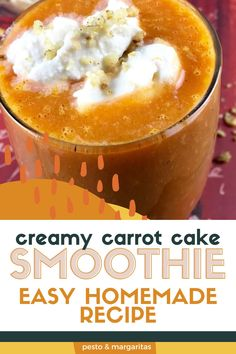 Carrots aren't always the first on the list for smoothies, but they are ideal because they are packed with goodness and are surprisingly sweet. If you want something a little sweeter at breakfast, then try this Carrot Cake Smoothie that is topped with whipped coconut cream and cinnamon for a healthy and sweet way to start the day Easy Drink Recipes, Easy Homemade Recipes, Seafood Recipes, Delicious Recipes, Crockpot Recipes, Soup Recipes, Protein Bar Recipes, Healthy Cookie Recipes, Smoothie Recipes