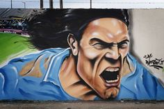 Naples now has a mural of a very angry Edinson Cavani (Getty)