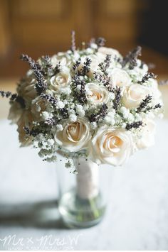 Talia's Bridal bouquet of Vendella Roses, Gypsophila and Lavender at Chateau la Durantie, France. >image by Mr and Mrs W
