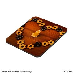 Candle and cookies. beverage coasters