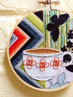 Patchwork Coffee no. 1 Hoop Art Kitchen Art Coffee by islandbaby