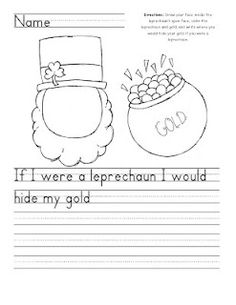 St Patrick's Day Writing ~ kindergarten or first grade 1st Grade Writing, Teaching Writing, Writing Activities, Holiday Activities, Kindergarten Writing Prompts, Therapy Activities, Teaching Ideas, San Patrick, School Holidays
