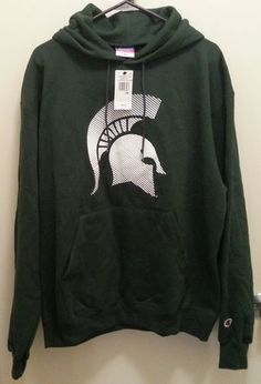 Men's Authentic Champion Sweatshirt New with Tags Size  Large or Extra Large Color  Dark Green White Material  50% Cotton  50% Polyester Detail  Sweatshirt has a pull over style with a hood in the back, drawstrings at the opening of hoodie, long sleeves, front bottom center open pocket to fit both hands in, great for warmth running earrings working out and bad weather days $18.00