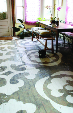 Graphic designer Catherine Weis shows how to make a stencil pattern for your wood floor.