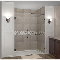 Aston Nautis 56-in x 72-in Completely Frameless Hinged Alcove Shower Door in Chrome (Oil Rubbed Bronze)