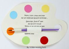 While Wearing Heels: Art Party Invitations.  Inexpensive DIY party invitations for an Art birthday party.