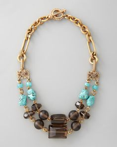 Turquoise & Smoky Quartz Necklace by Stephen Dweck at Bergdorf Goodman.