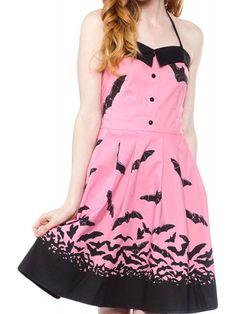 Sourpuss Women's Spooksville Bats Dress Pink