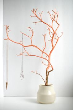Jewelry Holder Tree Coral Gold Organizer painted necklace hanger bedroom decor for her