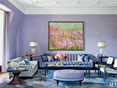 Tones recalling amethyst, sapphire, opal, and turquoise set a moody atmosphere in a New York apartment decorated by Drake Design Assoc.