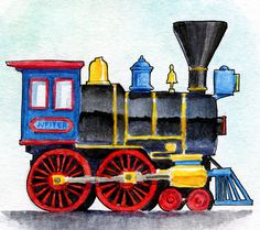 Jupiter Steam Locomotive Watercolor Train Clipart, Christmas Train, Steam Locomotive, Cafe Design, Photo Quality, Cute Drawings, Watercolor Paper, Cardmaking, Coloring Pages