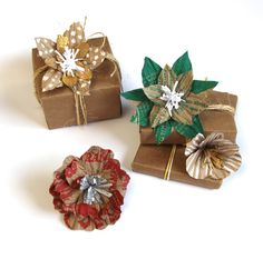 How to Gift Wrap Using Up-Cycled Paper Bag & Flower Toppers