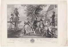 Pieter Tanjé | Bruiloft van Cloris en Roosje, Pieter Tanjé, Pierre Fouquet (Jr.), Jan Jacob de Bruyn, 1752 - 1761 | Cloris en Roosje dansen op hun bruiloft. Op de verhoging twee vioolspelers, van wie de vrouw het glas heft. Rechts de feestgangers en een man, die vanaf een ton een toespraak houdt. Onderaan in de marge het wapenschild van en een opdracht aan Jan Jacob de Bruyn, die het originele schilderij in zijn verzameling had. Scène uit het zangspel De bruiloft van Cloris en Roosje.
