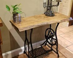 Decor, Farmhouse Kitchen Tables, Sewing Furniture, Singer Sewing Machine Table, Diy Furniture, Farmhouse Decor, Singer Table, Live Edge Table, Sewing Machine Tables